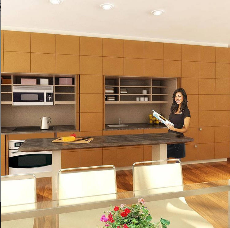 YesterTec's Stealth Kitchen design includes a 72-inch-wide range module, separated from the 72- ...