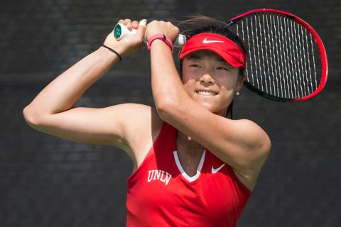 Aiwen Zhu, shown in 2017, won in singles and was part of a doubles victory Friday in UNLV's 4-0 ...