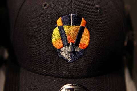 The Las Vegas Aviators logo is on hats for sale within the sales office in Downtown Summerlin a ...