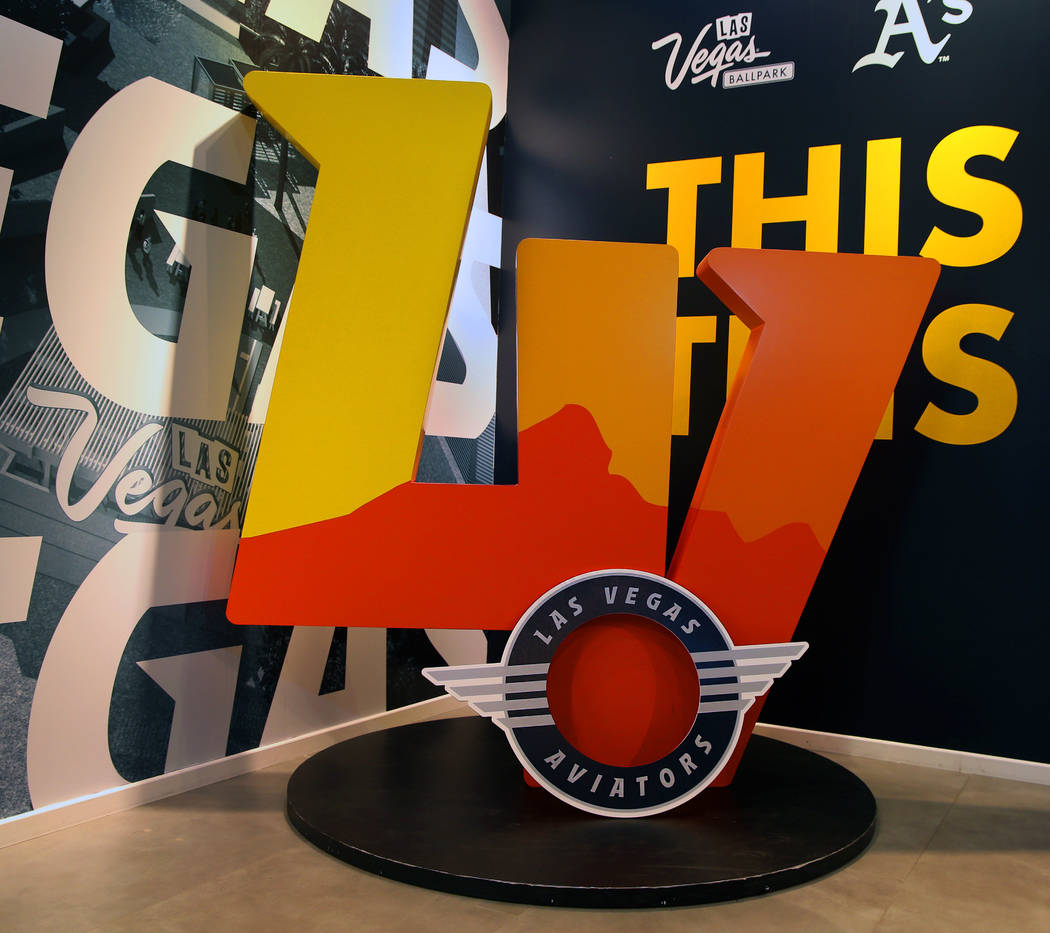 10040f7fa The Las Vegas Aviators logo statue is on display at the team sales office in  Downtown
