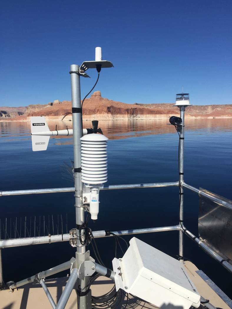 Instruments on a floating platform at Lake Powell will spend the next two to three years collec ...