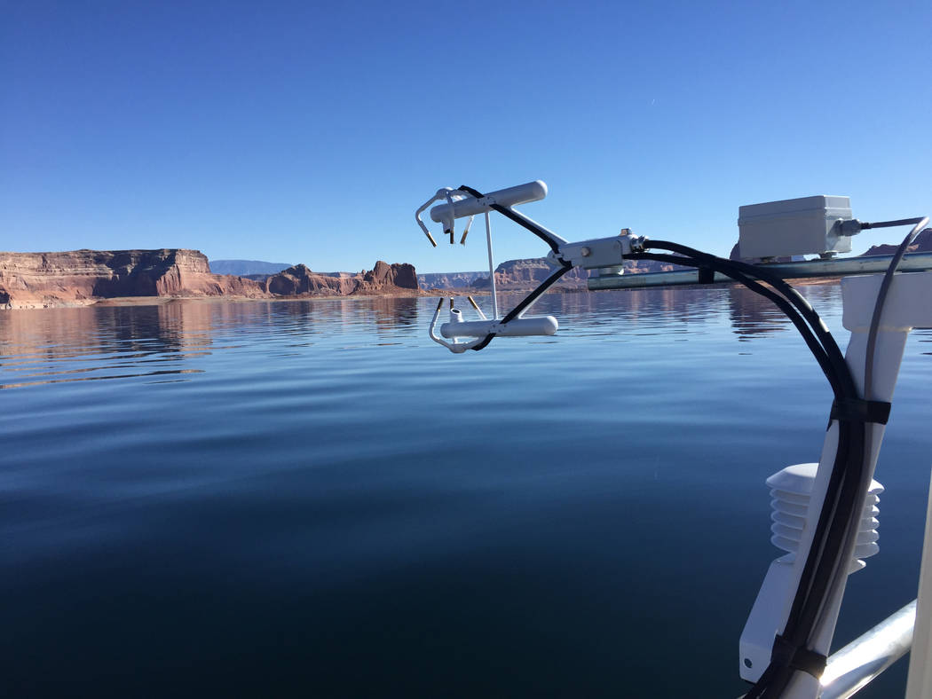 Several different methods of measuring evaporation are being tested at Lake Powell as part of a ...
