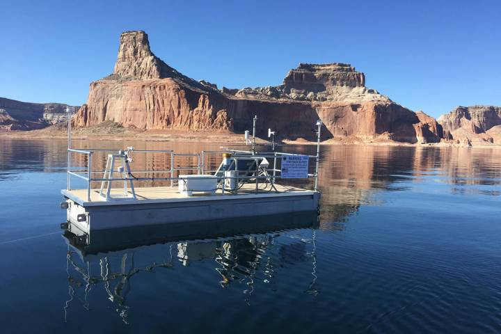 A remote evaporation station floats in Lake Powell on Nov. 7, 2018. (Desert Research Institute)