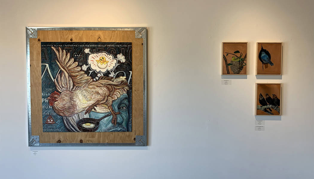 These paintings by Gig Depio and Darren Johnson acknowledge the migratory nature of birds of Ne ...