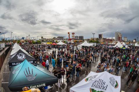 Attendees mingle during the sixth annual Great Vegas Festival of Beer April 9. (Fred Morledge/M ...