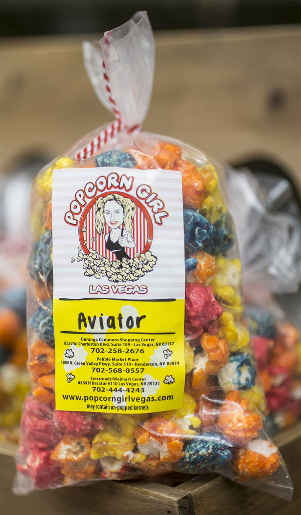 Popcorn from Popcorn Girl during Aviators media day near Las Vegas Ballpark on Tuesday, April 2 ...