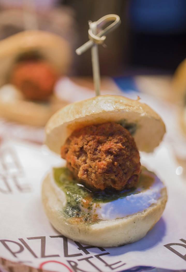 Meatball sandwich from Pizza Forte during Aviators media day near Las Vegas Ballpark on Tuesday ...