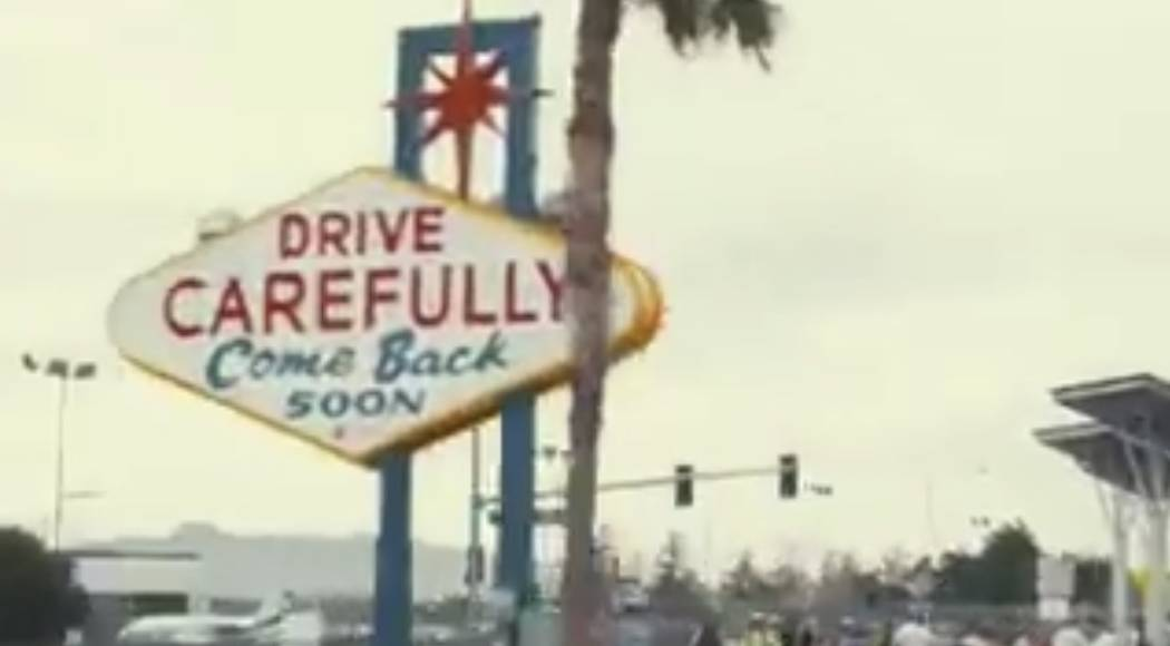 The lesser-photographed, back side of the Welcome to Fabulous Las Vegas sign is shown during se ...