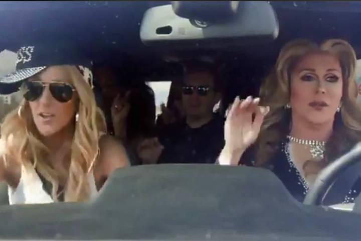 """Celine Dion, left, and """"Divas Las Vegas"""" cast member Steven Wayne, right, record a sendoff vide ..."""