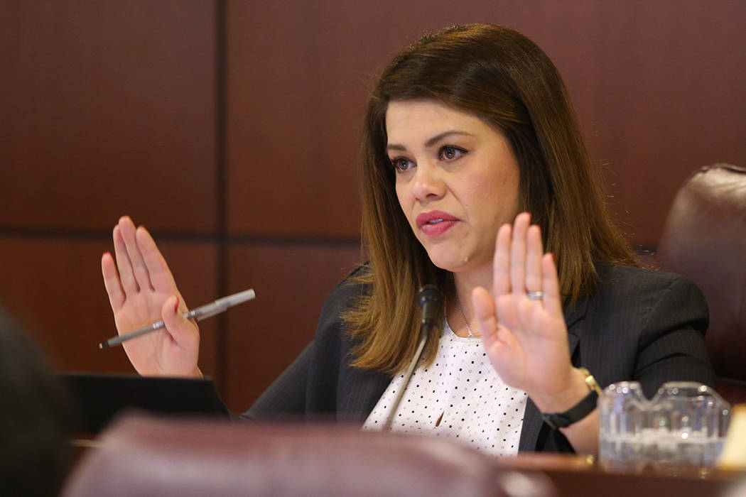 Assemblywoman Teresa Benitez-Thompson, D-Reno, asks a question during a Ways and Means Committe ...