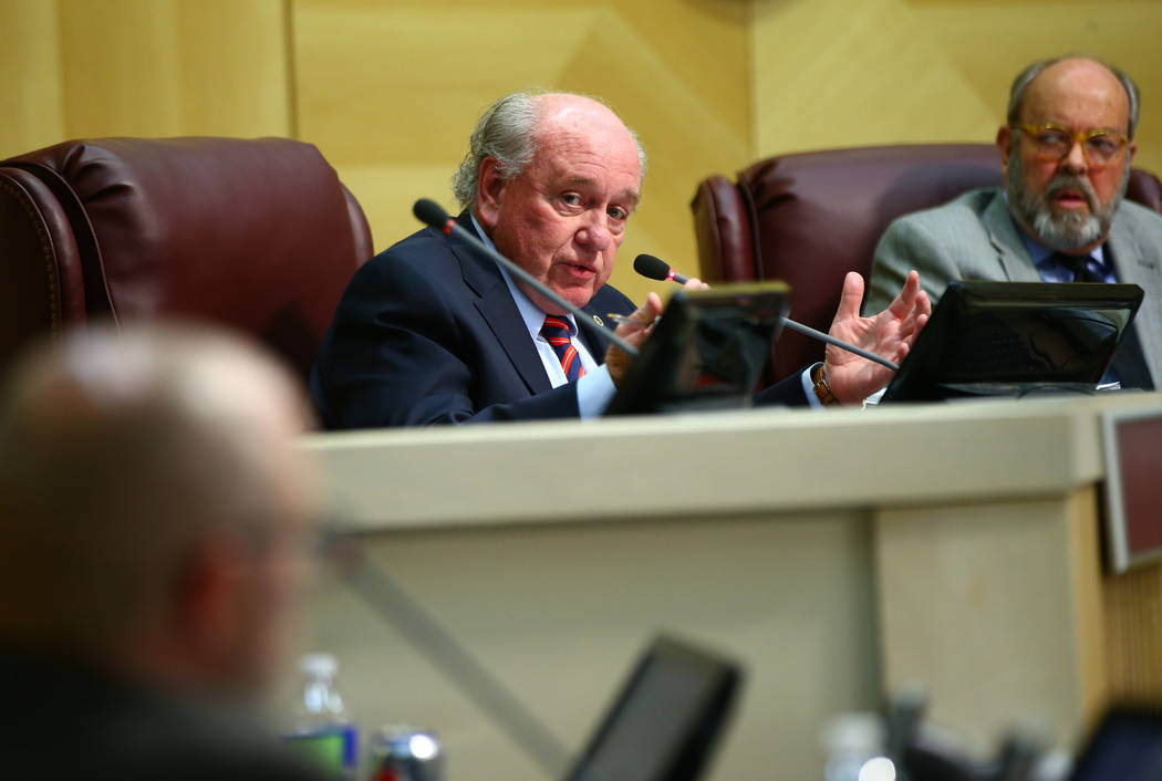 Henderson City Councilman Dan Shaw speaks during a council meeting on Tuesday, Feb. 20, 2018. ( ...