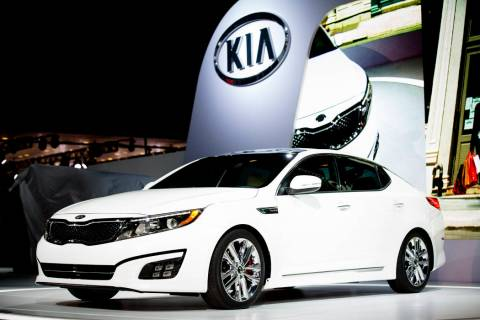 A 2014 Kia Optima is unveiled March 27, 2013, during the 2013 New York International Auto Show ...