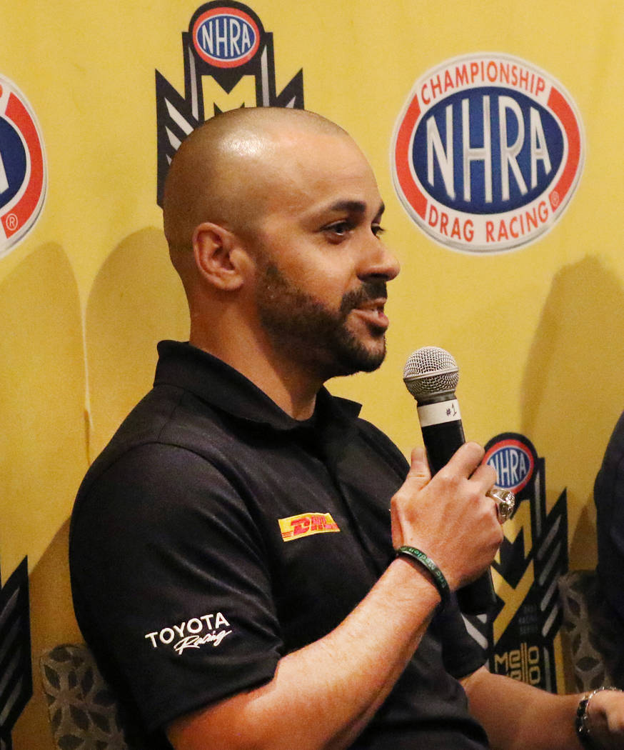Funny Car driver JR Todd speaks during a press conference on Thursday, April 4, 2019, in Las Ve ...