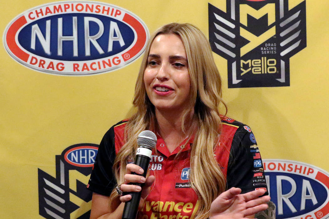 NHRA racer Brittany Force speaks during a press conference on Thursday, April 4, 2019, in Las V ...