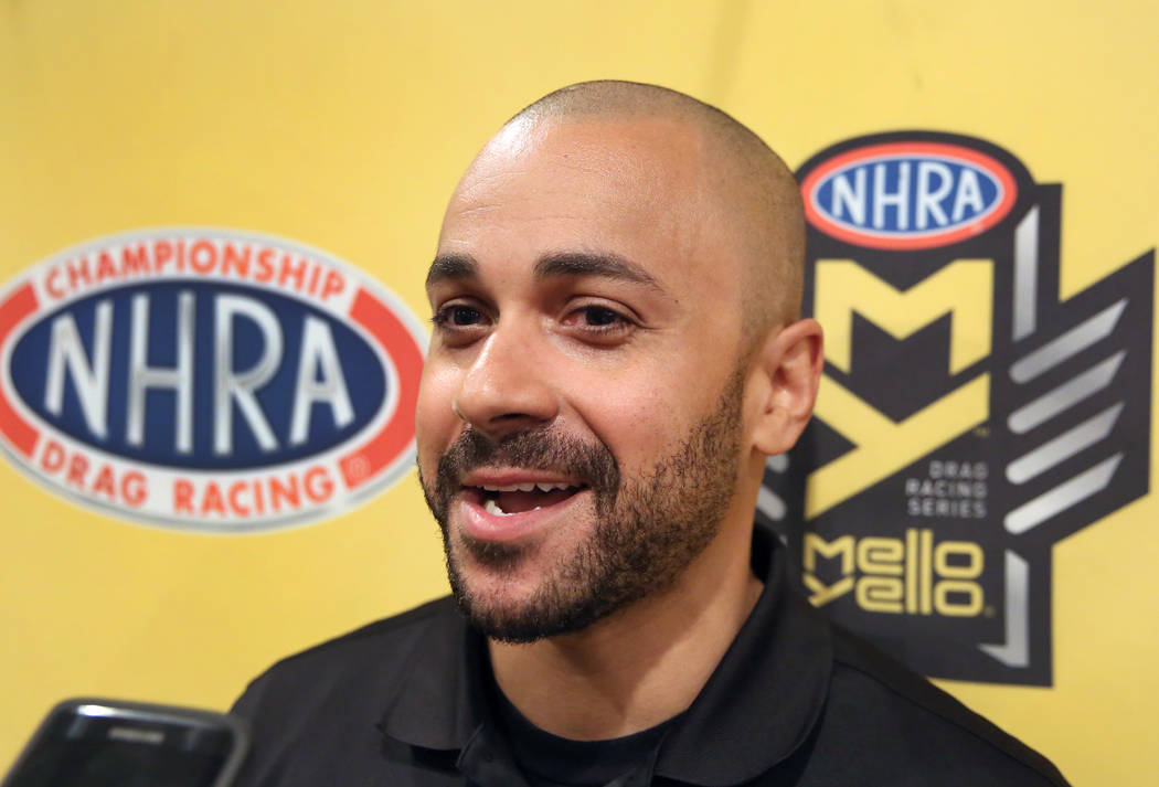 Funny Car driver JR Todd speaks during an interview with the Las Vegas Review-Journal on Thursd ...