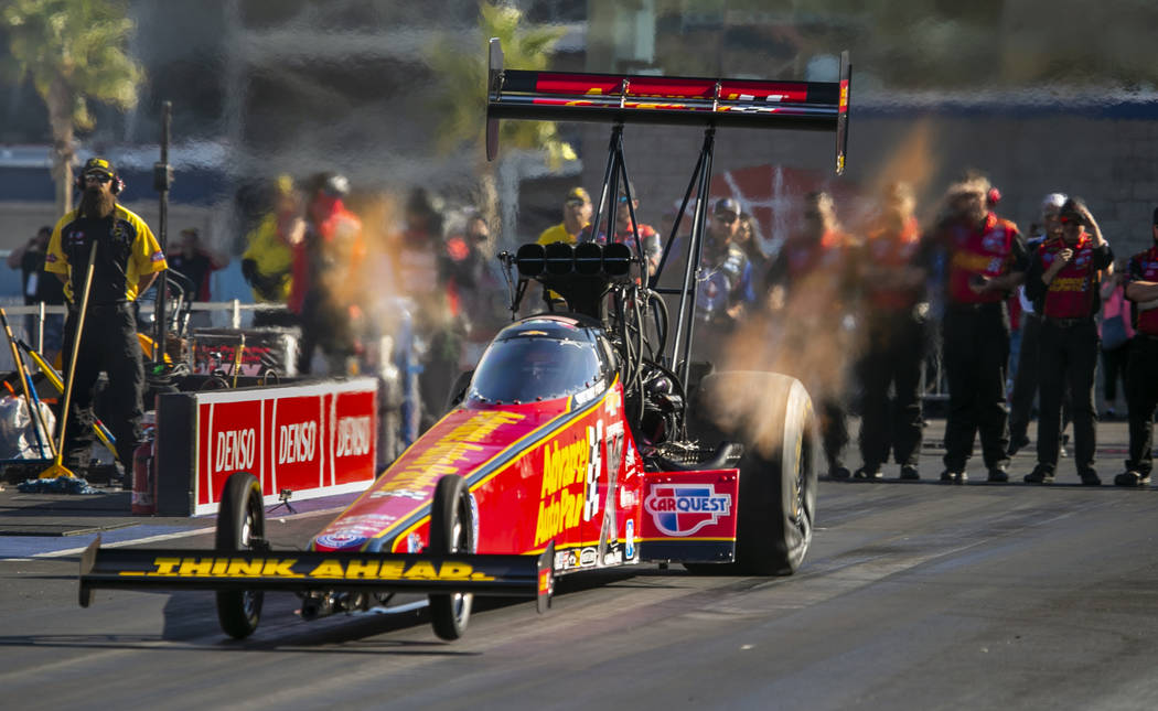 Top Fuel driver Brittany Force blasts off the line during the NHRA Mello Yellow Drag Racing Ser ...
