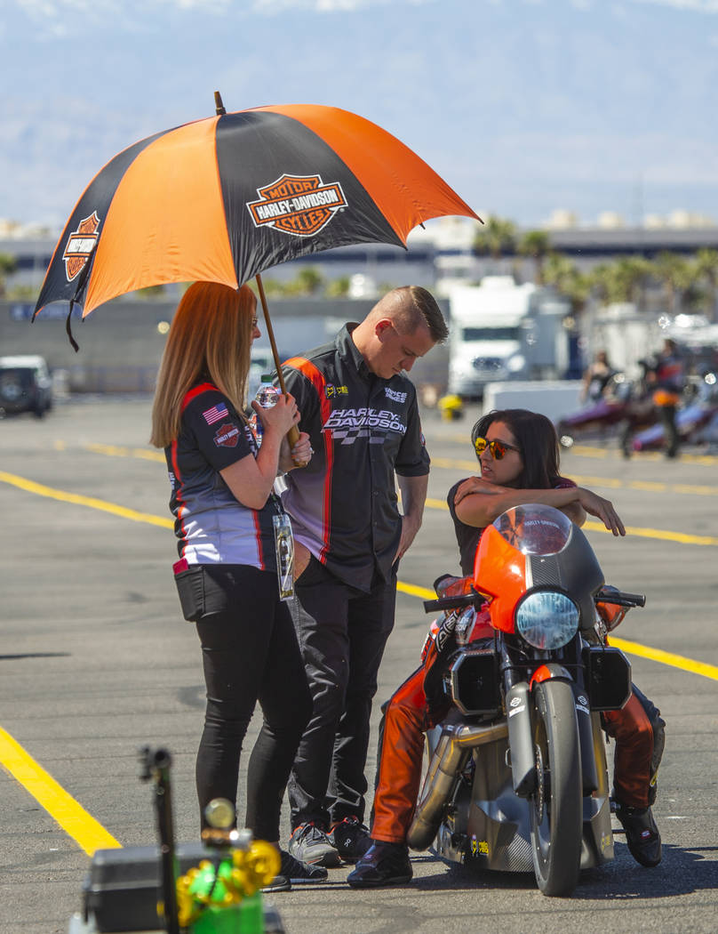 A Harley Motorcycle is kept cool before its heat during the NHRA Mello Yellow Drag Racing Serie ...