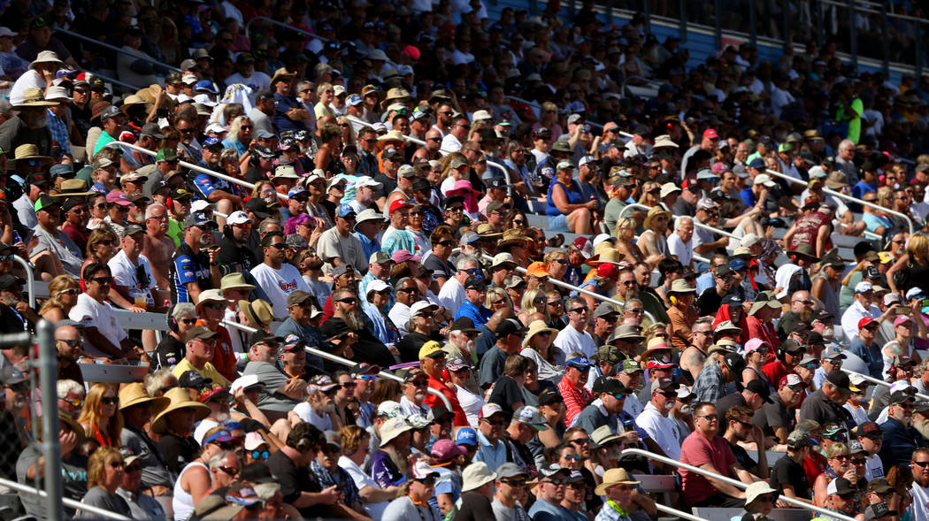 Fans pack the stands for the finals during the NHRA Mello Yellow Drag Racing Series on The Stri ...