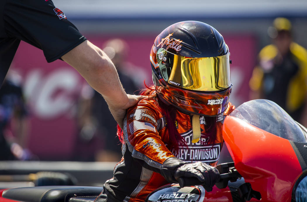 Pro Stock Motorcycle racer Angelle Sampey is wished well before her race during the NHRA Mello ...
