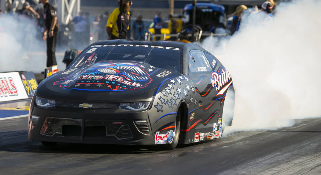 Pro Stock winner Bo Butner warms up the tires during the NHRA Mello Yellow Drag Racing Series o ...
