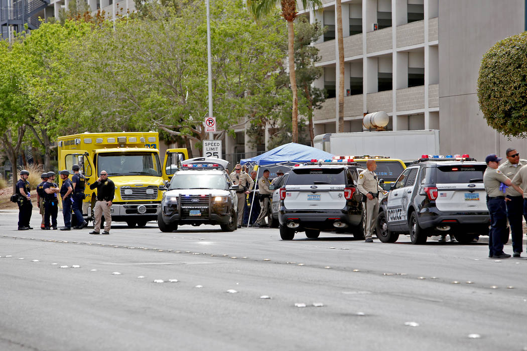 The scene on Joe Brown Drive where police are handling a barricade situation in Las Vegas, Mond ...