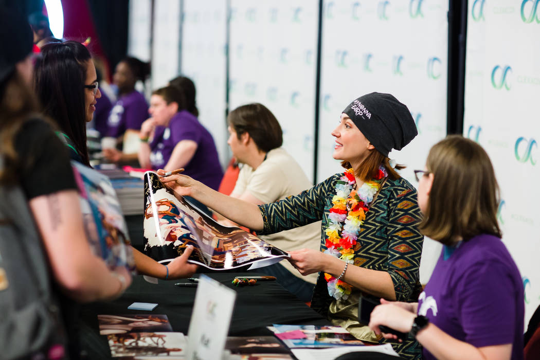 """Wynonna Earp"" co-star Katherine Barrell greets fans at the 2018 edition of ClexaCon in Las Veg ..."