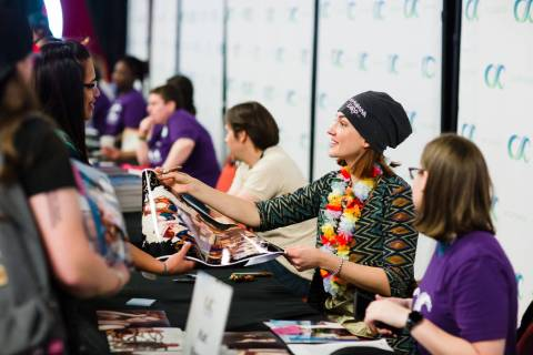 """""""Wynonna Earp"""" co-star Katherine Barrell greets fans at the 2018 edition of ClexaCon in Las Veg ..."""