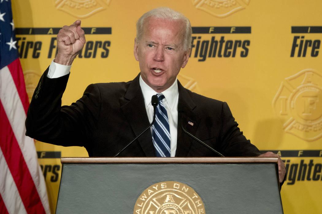 Former Vice President Joe Biden speaks to the International Association of Firefighters at the ...