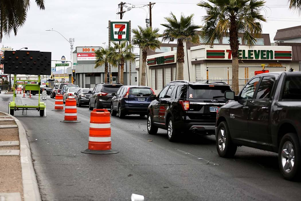 A view of traffic in the downtown area in Las Vegas on Saturday, March 10, 2018. (Las Vegas Rev ...