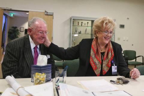 Mayor Carolyn Goodman files for her third term as mayor next to her husband Oscar Goodman at Ci ...