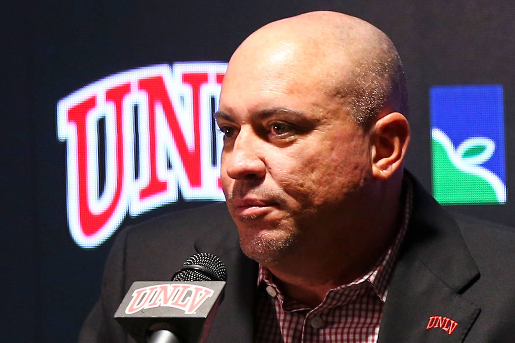 UNLV football coach Tony Sanchez announces early signees at the boardroom at the Thomas & M ...