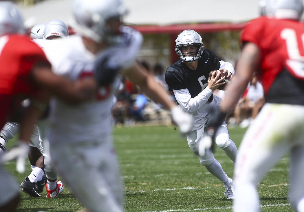 UNLV Rebels quarterback Max Gilliam (6) looks to throw a pass during the spring football game a ...