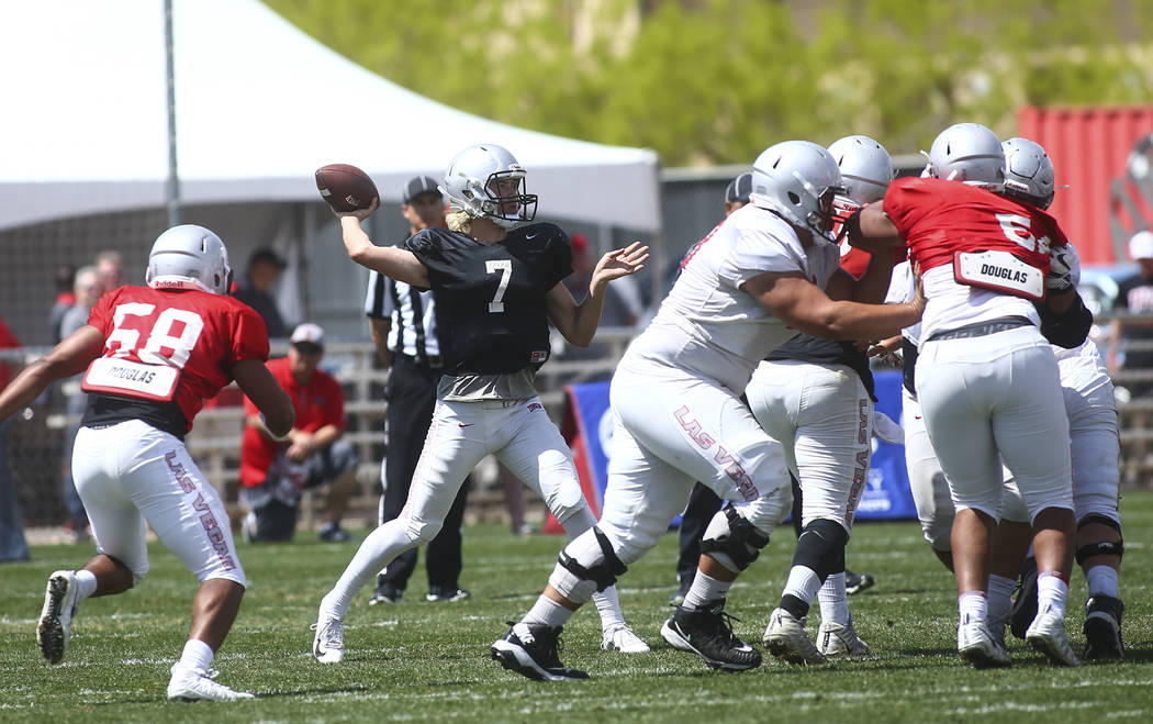 UNLV Rebels quarterback Kenyon Oblad (7) throws a pass during the spring football game at Peter ...