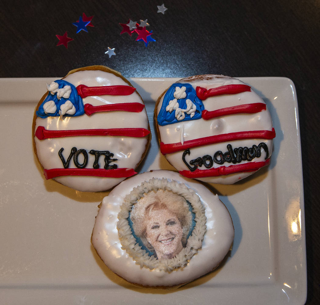 Mayor Carolyn Goodman doughnuts at Oscar's Steakhouse for snacking during an Election Night wat ...