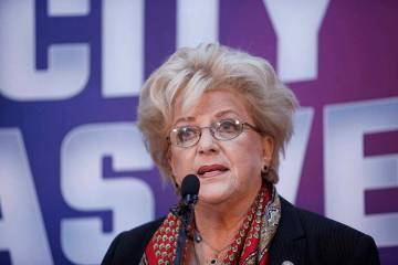 Early vote totals on Tuesday, April 2, 2019, point to a landslide victory for Las Vegas Mayor C ...