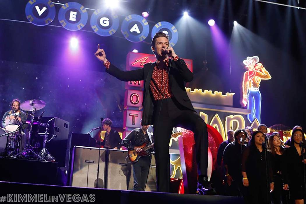 """The Killers perform on """"Jimmy Kimmel Live!"""" on Monday, April 1, 2019, in Las Vegas. The lat ..."""