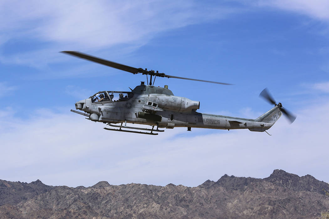 In this April 17, 2017 photo released by U.S. Marine Corps, an AH-1Z Viper prepares to land at ...