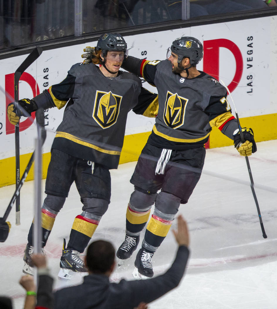 Vegas Golden Knights center Cody Eakin (21) and Vegas Golden Knights center Brandon Pirri (73) ...
