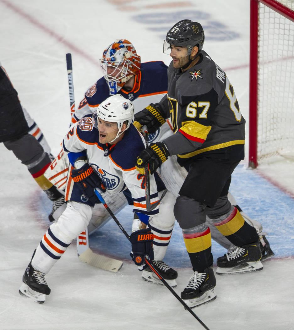 Edmonton Oilers defenseman Andrej Sekera (2) blocks out Vegas Golden Knights left wing Max Paci ...