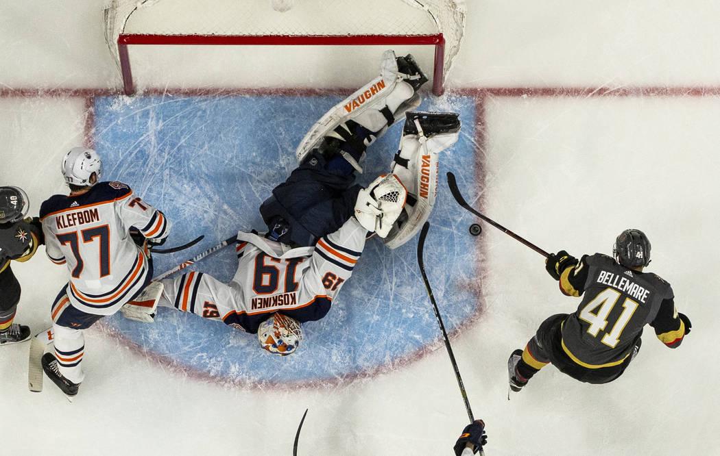 Vegas Golden Knights center Pierre-Edouard Bellemare (41) takes a shot on goal versus Edmonton ...