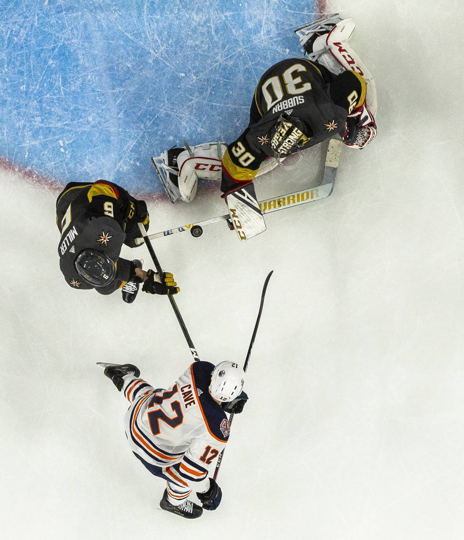 Vegas Golden Knights goaltender Malcolm Subban (30) deflects a puck off his stick shot by Edmon ...