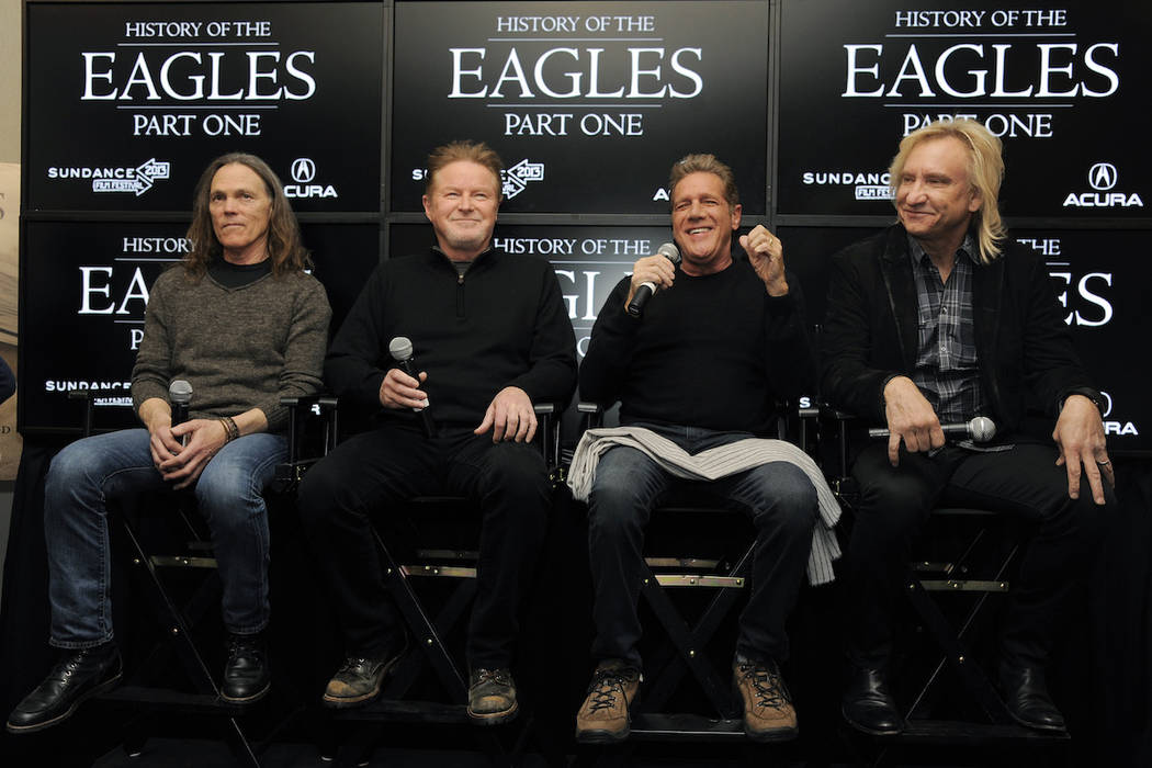 From left, Timothy B. Schmit, Don Henley, Glenn Frey and Joe Walsh of The Eagles take part in a ...
