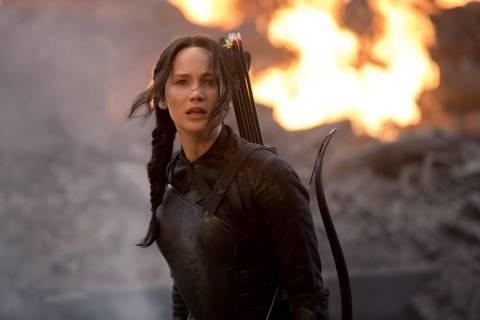 "Jennifer Lawrence stars as 'Katniss Everdeen' in ""The Hunger Games: Mockingjay Part 1."""