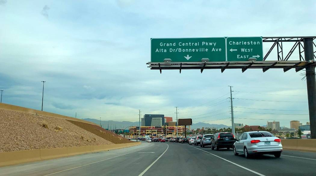 The new Interstate 15 to Charleston Boulevard offramp set up opened to traffic Tuesday, April 0 ...