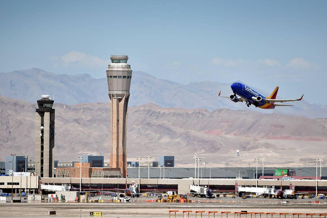 A Southwest Airline passenger jet takes off from McCarran International Airport. (Las Vegas Rev ...