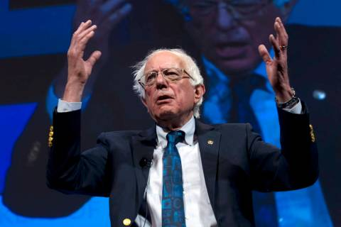 Presidential candidate Sen. Bernie Sanders of Vermont, speaks during the We the People Membersh ...