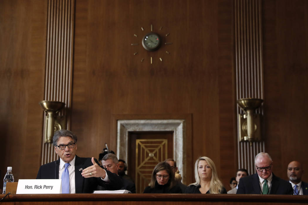 Energy Secretary Rick Perry testifies before the Senate Energy and Natural Resources Committee ...