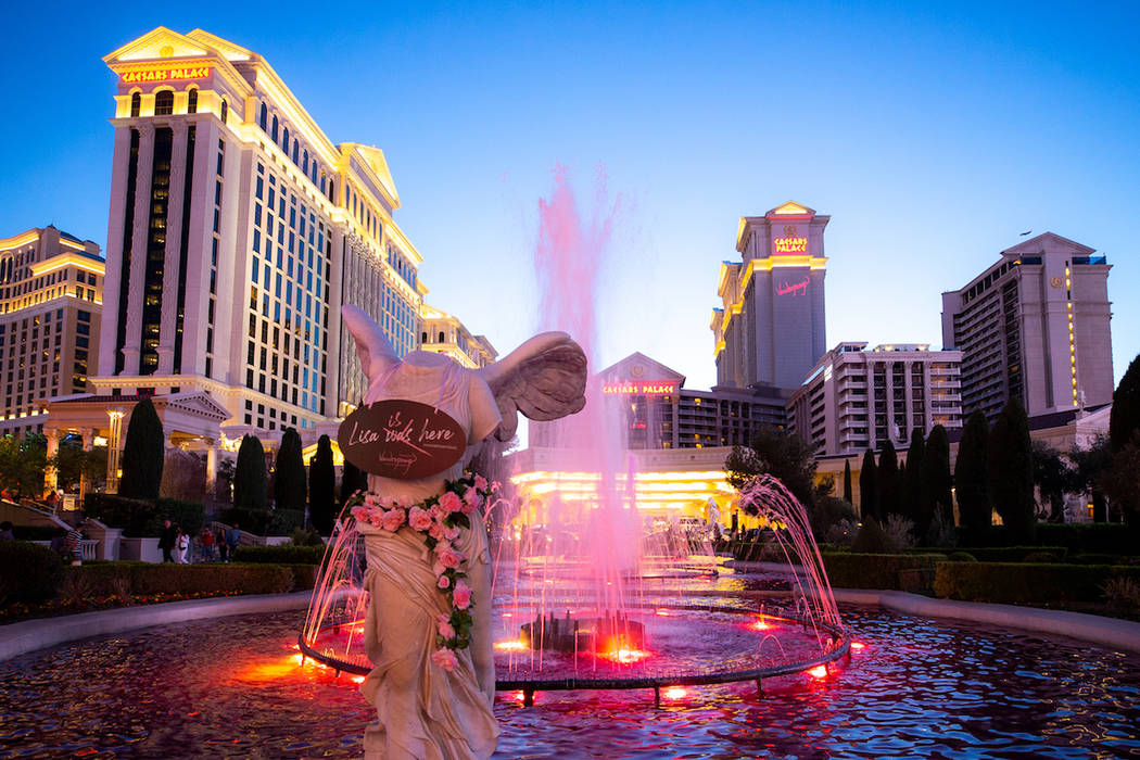 The iconic Caesars Palace fountains turned pink in celebration of Lisa Vanderpump's new cocktai ...