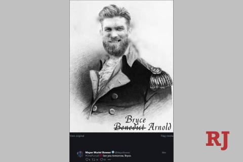 A photoshopped picture of Bryce Harper on the uniformed torso of Benedict Arnold appeared on Ma ...
