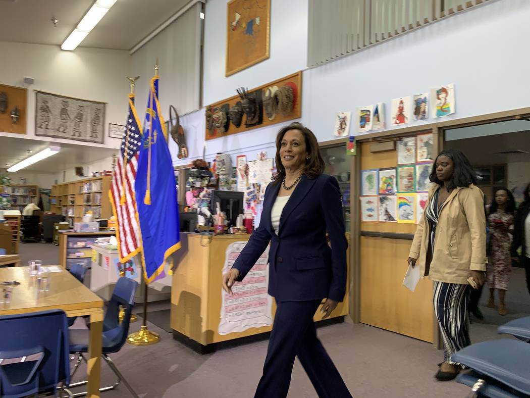 Calfornia Sen. Kamala Harris, a Democratic presidential candidate, enters the library at Eagle ...